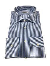BRANCACCIO camisa de hombre rayas blanco/azul 100%algodón DOBLE TRENZADO slim