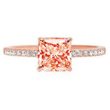 1.66 Asscher Red Stone Classic Bridal Statement Designer Ring 14k Rose Gold