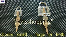 Clear Padlock, Lock Pick Cut Away See Through 2 x Keys SMALL / LARGE / OR BOTH
