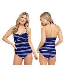 Ladies Blue White Stripe Swimming Costume Bathing Swimsuit One Piece