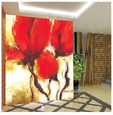 Papel Pintado Mural De Vellón Rojo Flores Pintura 23 Paisaje Fondo Pantalla ES