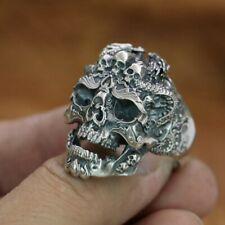 Handmade 925 Sterling Silver Dragon Skulls Mens Biker Ring Punk Jewellery TA132D