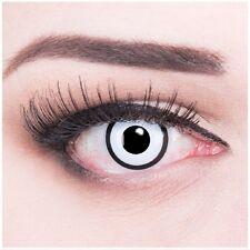 Farbige Kontaktlinsen Halloween Fasching MIT Stärke weiß schwarz White Zombie