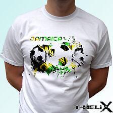 Giamaica Bandiera Di Calcio-Bianco T Shirt Top Maglietta da calcio-Linea Uomo Donna Bambini Baby