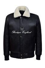 Men's Aviator Pilot Flying Bomber Real Leather Sheepskin Fur Collar Jacket