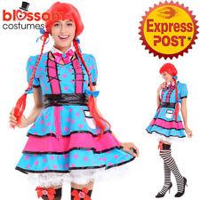 K534 Womens Rag Doll Raggedy Anne Fancy Dress Up Book Week Halloween Costume