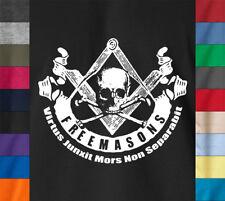 FREEMASON Masonic Skull T-Shirt Square Compass Masonry Free Mason Illuminati Tee