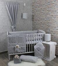Rideaux/2/3/5/6 pcs ensemble de literie lit bébé 120x60cm/cotbed 140x70cm-gris chevron