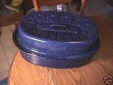 Blue Graniteware Enamelware Roaster