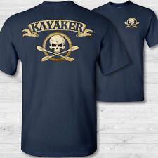 Kayaker crossbones t-shirt kayaking skull tee shirt river lake kayak badge shirt