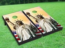 Statue of Liberty Cornhole Board Wrap Set Laminated Wraps Decals Vinyl Sticker