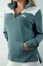 Victoria's Secret PINK Boyfriend Quarter Zip Mockneck Logo Fleece Sweatshirt