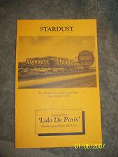 Stardust Hotel 13th Strip Tony Stralla Hotel Information Pamphlet Las Vegas Nv