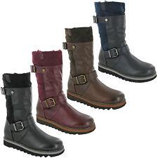 Damas Tacón De Plataforma Botas Mitad de Pantorrilla Moda Cremallera Caliente Forrado Zapatos para mujer UK3-8