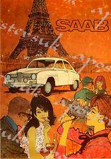 Vintage Saab Motor Car Automobile Advertisement Poster A3/A4 Print