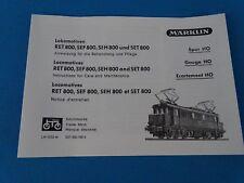 Marklin RET 800, SEF 800, SEH 800, SET 800 Replica booklet 01055