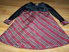 Girls Size 6 Red Black Plaid Holiday Christmas Dress Velour Bodice George EUC