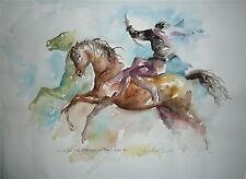 Blasco Aquarelle sur signée dédicacée artiste espagnol cheval voltige