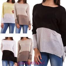 Maglione donna pullover cotone maximaglia casual bicolor ampio nuovo AS-1308