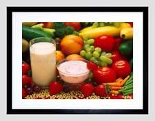 Photo fruits yaourt lait laitiers veg alimentaire boisson noir encadré art imprimé B12X4652