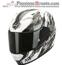 Casque intégral Scorpion Exo 1200 air Lilium blanc noir blanc noir moto