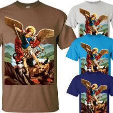Saint Michael Sancte Michael Archangele v3 T Shirt sizes S-5XL White Sky blue