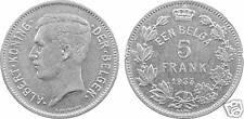 BELGIUM, ALBERT I, 5 Francs 1933 FL unc