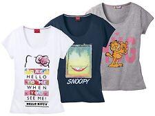 Damen T-Shirt Fitness Freizeit Shirt Hello Kitty Snoopy Garfield