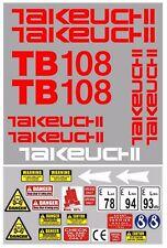 Decal Sticker set for: Takeuchi TB108  Mini Digger Pelle Bagger Excavator