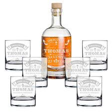 7-teiliges Geschenk-Set mit Whiskyflasche und 6x Gläser inkl. Gravur