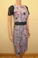 New Little Mistress Purple Mix Floral Black Lace Dress Sz UK 10