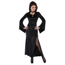 Black Hooded Robe Adult Gothic Vampiress Medieval Sorceress Halloween Costume