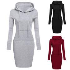 Womens Long Sleeve Sweatshirt Hooded Casual Hoodie Jumper Sweater Mini Dress Top