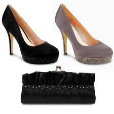 Para Mujer Elegante Fiesta Diamante Platform Court Shoes señoras Tacones Bolsa De Embrague