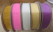 16mm Organza Ribbon , 25 yard reel, 5 colours, clearance