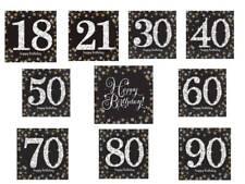 33cm HAPPY BIRTHDAY BLACK GOLD SPARKLING NAPKINS SERVIETTES 16pack -var ages AGE