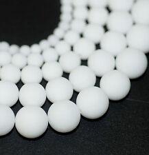 Jade weiß opak Perlen Matt 4 - 12 mm, 1 Strang BACATUS Edelstein Kugeln #2021