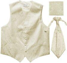 New Men's Paisley Tuxedo Vest Waistcoat & Ascot Cravat & Hankie Wedding Ivory