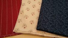 New-100% Cotton-Marcus Design Fabrics-Dainty Designs-Blue Red or Cream