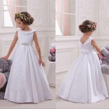 White Flower Girl Communiom Wedding Bridesmaids Prom Princess Dance Ball Gown