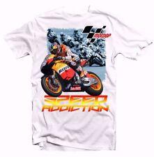 Super Bike Racing Moto GP velocidad adicción Blanco Algodón Camiseta 9343