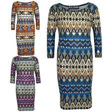 Gilrs Dress Kids Aztec Foil Print Bodycon Fashion Midi Dresses Top Age 7-13 Year