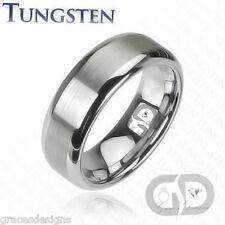 Tungsten Wedding Engagement Anniversary Bridal Band Brushed Matte Center Ring