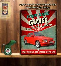 PERSONALISED FORD ESCORT RS TURBO CAR GARAGE WORKSHOP Vintage  Metal Wall Sign