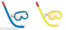 SUN MASK & SNORKEL KIT Blue Yellow Child Learn to Swim Class Kids Goggle 24006