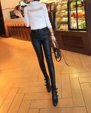 New 2016 Fall and Winter Korea Women's High Waist Leather Pants - USA Seller