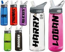 2 x Personalised Name Stickers - Drinks Bottle Gym Bike Water Saka Font Sports