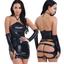 Damen Sexy Bandage Kleider Kunstleder Wet Look Bodycon Ballkleid Party Clubwear