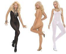 Elegant Moments ✿ bodystocking avec spaghetti bretelles ✿ EM-1601 ✿ noir/chair/blanc
