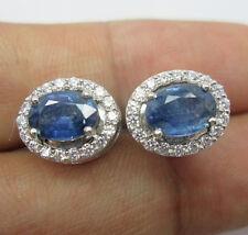 Oval Blue Sapphire & White Diamonds Earring Stud 14K Gold - 925 Sterling Silver
